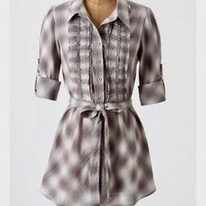 Anthropologie Odille Plaid Belted Blouse- Sz 8